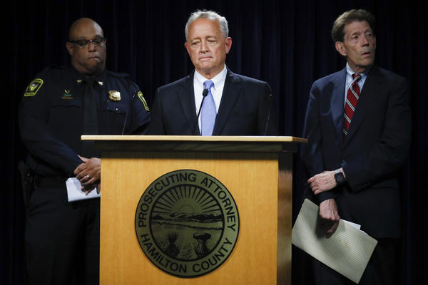 Hamilton County Prosecutor Joseph Deters, center, speaks alongside Franklin County Prosecutor Ron O'Brien, right, and Cincinnati Police Chief Eliot Isaac, left, during a news conference to discuss cases linked to Samuel Little, Friday, June 7, 2019.