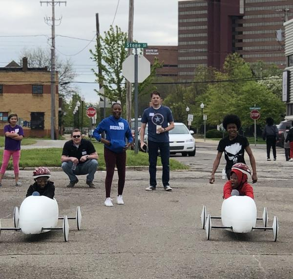 The winner of this weekend's soap box derby race in Flint will get to compete in the All-American Soap Box Derby Race next month in Akron, Ohio.
