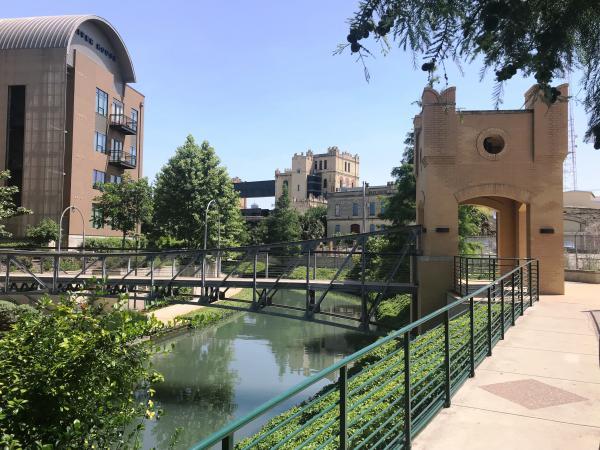 Roy Smith Street walk bridge infront of the San Antonio Museum of Art.
