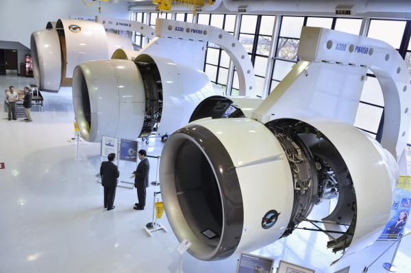 In this file photo taken March 31, 2010, Pratt & Whitney engines are seen here during a media day tour company headquarters in East Hartford, Conn.