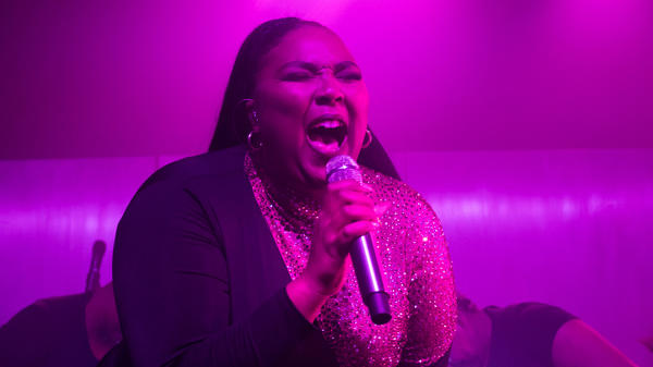 Lizzo performing live at The TLA in Philadelphia.