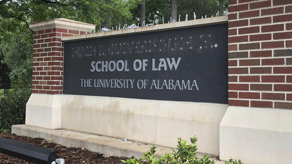 The University of Alabama's law school sign was changed on Friday after the university decided to return the largest single donation it has ever received. The move followed a dispute with donor Hugh Culverhouse Jr.