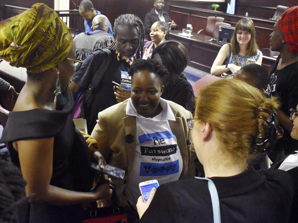 The high court in Gaborone, Botswana, threw out the country's longstanding ban on same-sex relations Tuesday, setting off celebrations inside the courthouse.