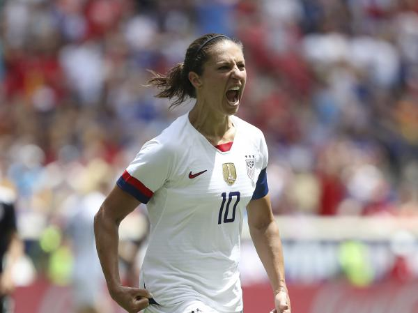 The U.S. plays its first match of the 2019 FIFA Women's World Cup on Tuesday against Thailand in Reims, France. U.S. forward Carli Lloyd is seen here celebrating after scoring a goal against Mexico last month in Harrison, N.J.