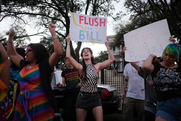 Adrienne Anemone and other demonstrators protest the Texas Legislature's so-called bathroom bill in front of the governor's mansion in 2017.