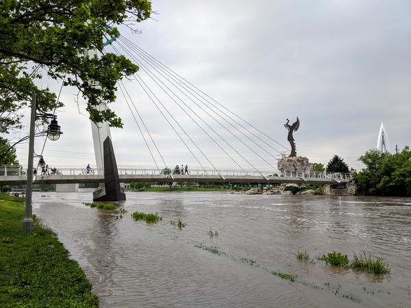 Flooding near the confluence of the Little Arkansas and Arkansas River in Wichita