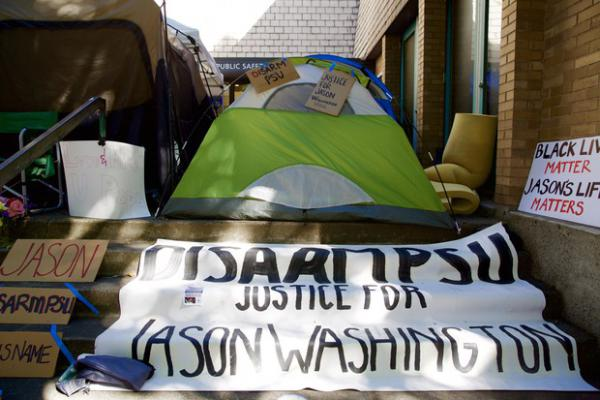 <p>The Disarm PSU encampment outside the Portland State University Campus Public Safety office is pictured Oct. 3, 2018.</p>