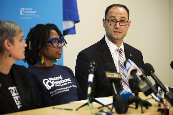 Dr. David Eisenberg, medical director of Reproductive Health Services of Planned Parenthood of the St. Louis Region, answers questions during a press conference Friday.
