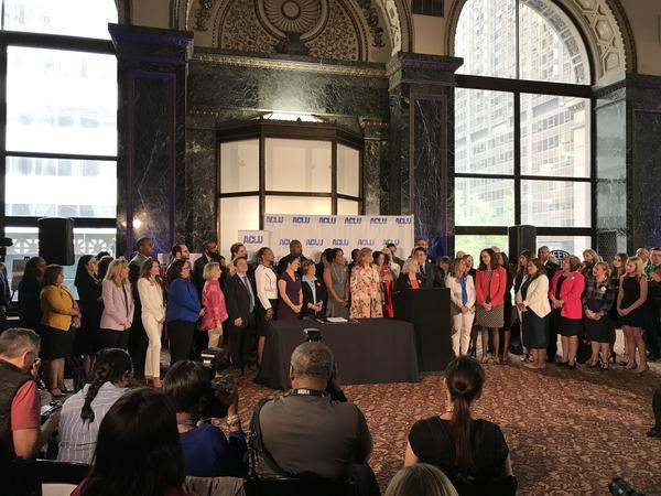 State lawmakers and advocates deliver remarks before a crowd gathered to watch Governor J.B. Pritzker sign the Reproductive Health Act