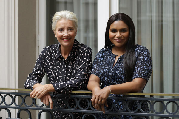 "Mindy Kaling, right, wrote the lead role in <em>Late Night</em> with Emma <em></em>Thompson in mind. They filmed the movie in a ""white heat of passion"" in 25 days, Thompson says. They are pictured above in London in May 2019."