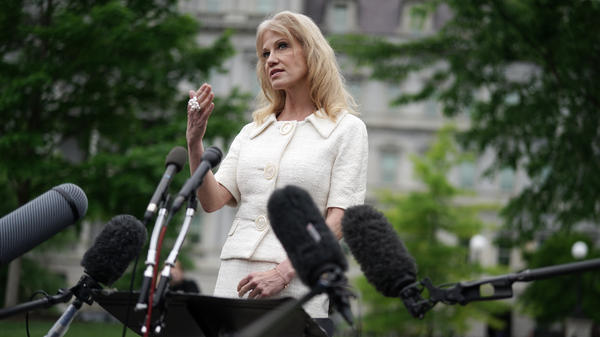 "Kellyanne Conway, counselor to President Trump, talks to reporters outside the White House on May 1. The Office of Special Counsel says Conway should ""be removed from federal service"" for repeated violations of the Hatch Act."