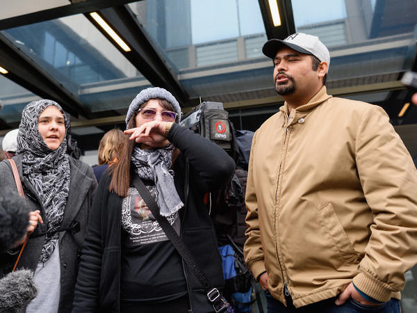 Janna Zat, whose son Hussein al-Umari was killed at Al Noor Mosque, speaks to the media in front of Christchurch High Court on Friday in Christchurch, New Zealand.