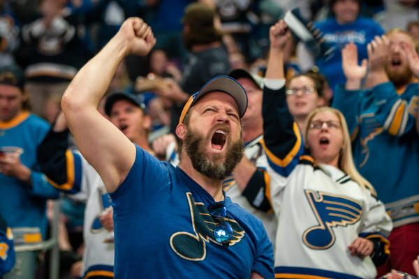 Aaron Wright, 43, of Farmington celebrates during the St. Louis Blues' victorious Game 7 against the Boston Bruins.