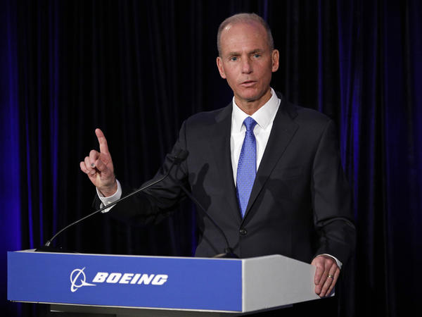 Boeing Chief Executive Dennis Muilenburg speaks during a press conference after the annual shareholders meeting in Chicago on April 29.