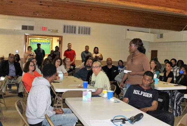 "Karen Simms speaks to a group gathered on Friday, May 17, 2019, at the Champaign Community Coalition's first ""violence response forum"" at Jericho Missionary Baptist Church in Champaign."
