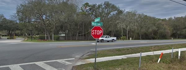 Intersection of Moon Lake Rd. and Bethwood Ave. in New Port Richey. LGBTQIA+ organization, Pasco Pride, adopted a mile stretch of the road.