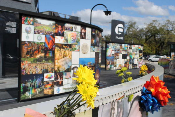 The temporary memorial at the site of the Pulse nightclub shooting.