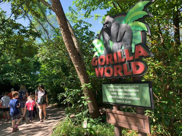 "The entrance to ""Gorilla World"" at the Cincinnati Zoo."