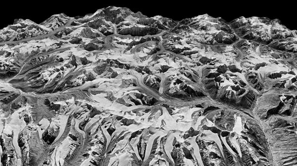 This oblique view of the Himalayan landscape was captured by a KH-9 Hexagon satellite on Dec. 20, 1975, on the border between eastern Nepal and Sikkim, India.