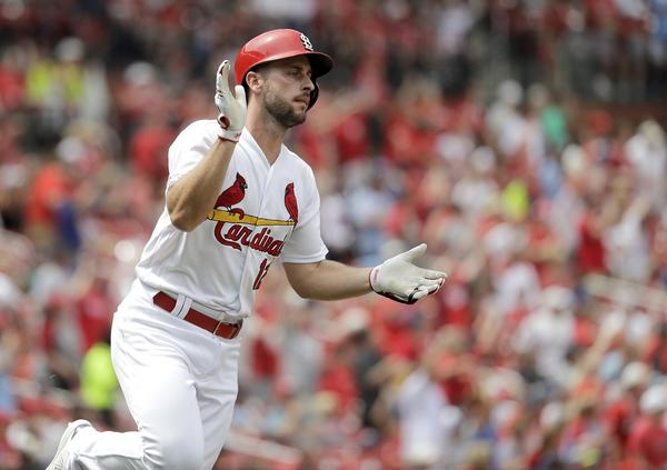 St. Louis Cardinals' Paul DeJong celebrates as he rounds the bases after hitting a two-run home run during the seventh inning of a baseball game against the Cincinnati Reds on June 6 in St. Louis.