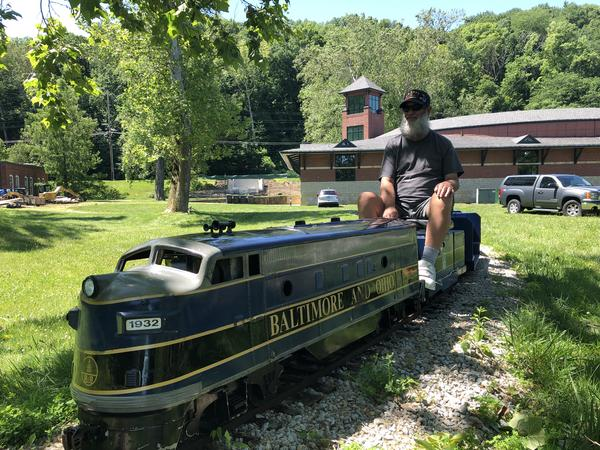 Dayton History volunteer Norm Gibson engineers the mini-train ride around Carillon Park.