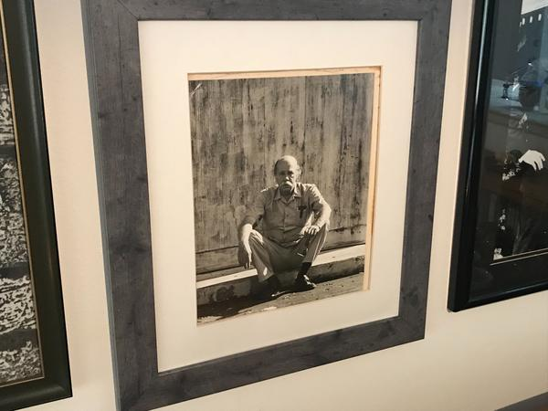 Betsy Willeford, widow of mystery author Charles Willeford, loves this black and white photo of her huband.