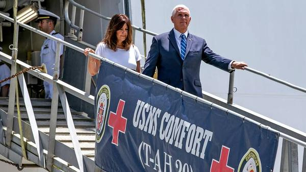 Vice President Mike Pence and wife Karen Pence touring the USNS Comfort docked at PortMiami Tuesday before it leaves for Latin America.