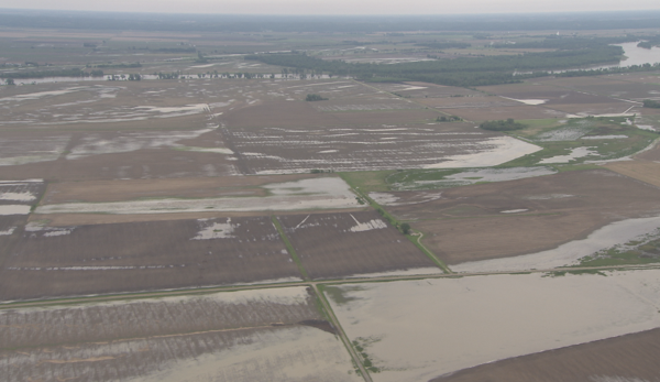 An aerial view of flooded farm fields near Tekamah, Nebraska.