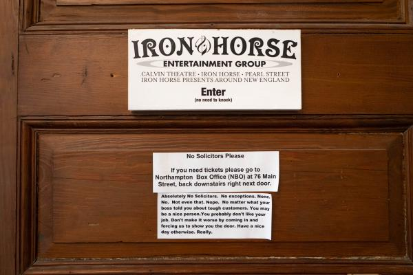 The door to the upstairs office at Iron Horse Entertainment Group's Northampton Box Office.