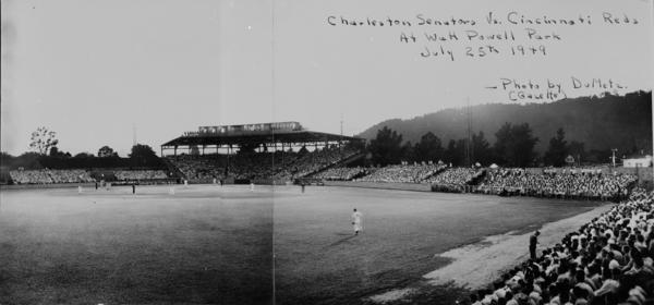 A panoramic of Watt Powell Park showing Charleston Senators - Wally Post's 20th birthday, Photograph by DuMetz, Charleston, West Virginia, July 29, 1949, Mrs. Dave Cleland Collection, West Virginia State Archives