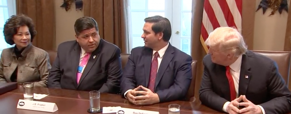 Gov.-elect J.B. Pritzker and others meet with President Donald Trump in the White House in this file photo from December 2018.