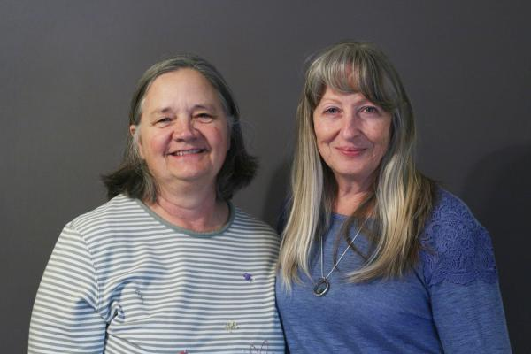 L to R: Allison Scott and Gloria Applegate at the StoryCorps Mobile Booth in Marfa, TX.