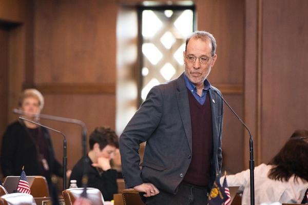 <p>State Sen. Michael Dembrow, D-Portland, speaks on the Senate floor at the Capitol in Salem, Ore., Thursday, April 11, 2019.</p>