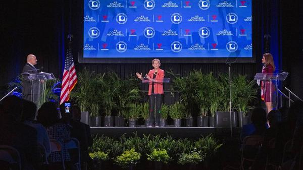 Elizabeth Warren answers questions as eight presidential candidates attend the National Association of Latino Elected and Appointed Officials Presidential Candidate Forum at Telemundo Center in Miami on Friday, June 21, 2019.