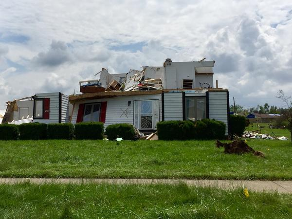 A home in a heavily storm-damaged area of Trotwood