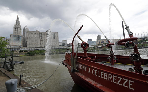 The Anthony J. Celebrezze rests near Fire Station 21 on the Cuyahoga River, Thursday, June 13, 2019, in Cleveland.