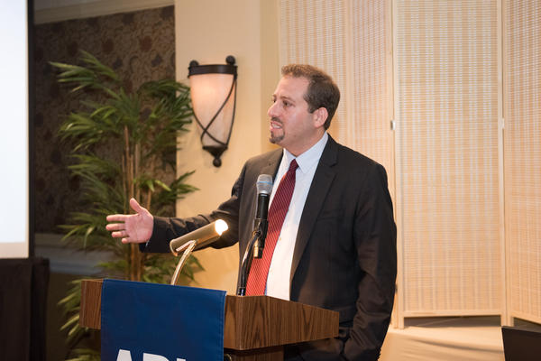 Oren Segal, director of the Anti-Defamation League's Center on Extremism, speaks at the ADL Florida Region's annual meeting on June 18 in Fort Lauderdale.