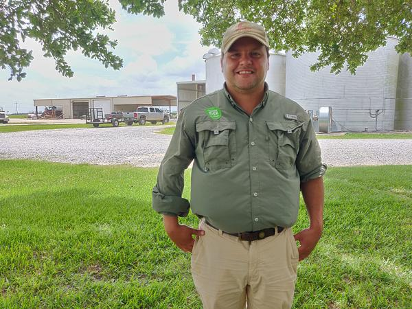 """Ross Thibodeaux, pictured on his farm in Acadia Parish, pushed Louisiana lawmakers to pass a """"truth in labeling"""" law in the 2019 legislative session."""
