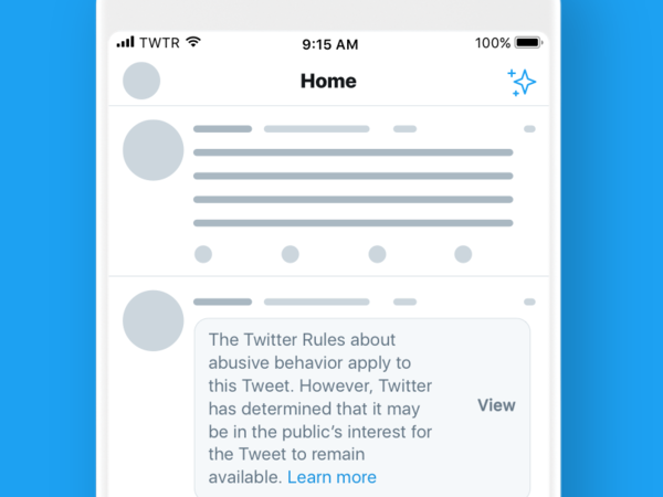 A sample of the new warning notices that Twitter users will see before clicking to see tweets by government officials and political figures that violate Twitter's rules.