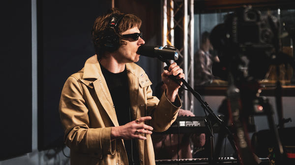 Cage the Elephant's Matt Shultz inside the World Cafe Performance Studio
