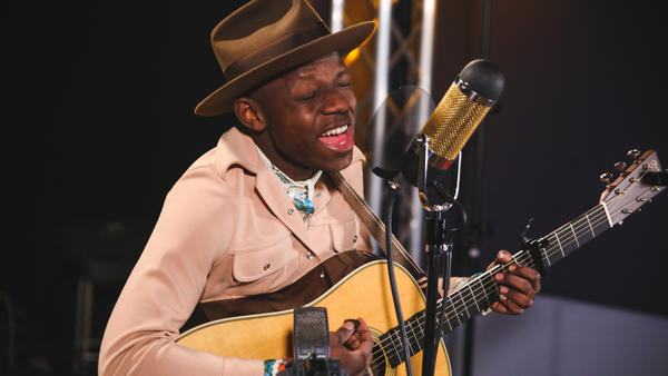 J.S. Ondara performs inside the World Cafe Performance Studio