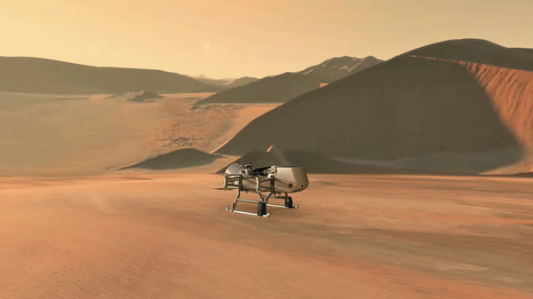 This illustration shows NASA's Dragonfly rotorcraft lander approaching a site on Saturn's exotic moon, Titan.