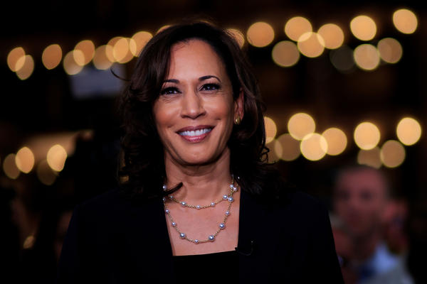 Democratic presidential candidate Kamala Harris, D-Calif., speaks during a television interview after the second night of the first Democratic presidential debates in Miami.