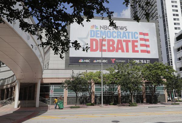 The Adrienne Arsht Center in downtown Miami before the start of Wednesday evening's Democratic debate.