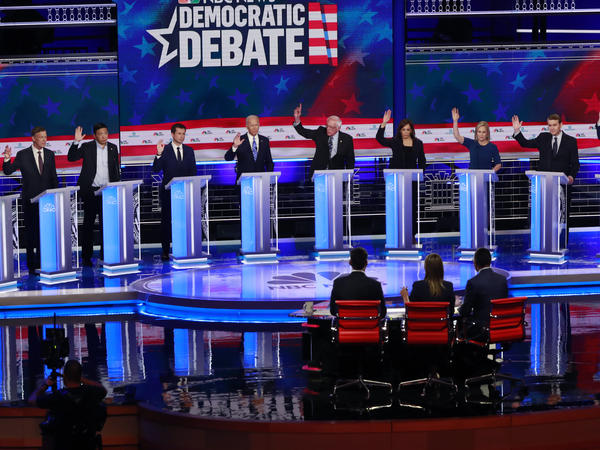 A stage full of Democratic presidential hopefuls in Miami. The two nights of debates underscored the changes within the party.