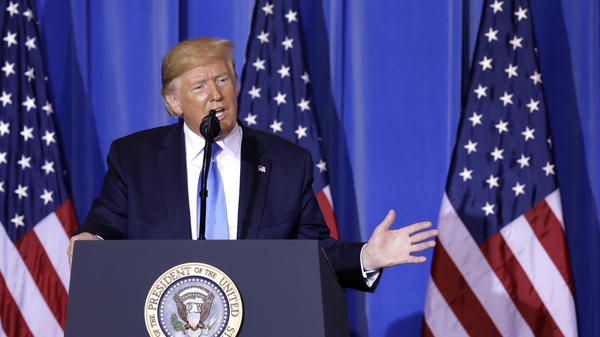 President Trump speaks during a news conference following the Group of 20 summit in Osaka, Japan, on Saturday. Trump said the U.S. and China would resume trade talks.