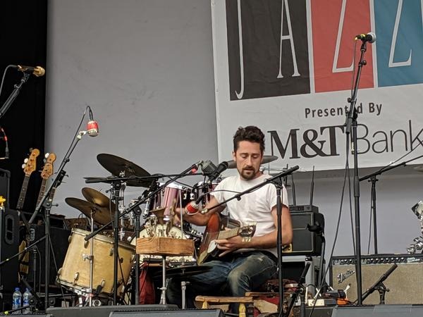 One-man-band Matt Lorenz, performing under the moniker The Suitcase Junket, to the Midtown Stage on Parcel 5 on Friday, June 28.