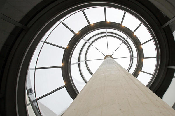Inside the glass tower of the German Historical Museum.