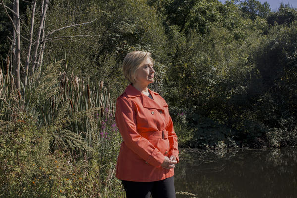 Hillary Rodham Clinton visits the Glazier Arboretum Park where she often likes to hike in Chappaqua, N.Y.