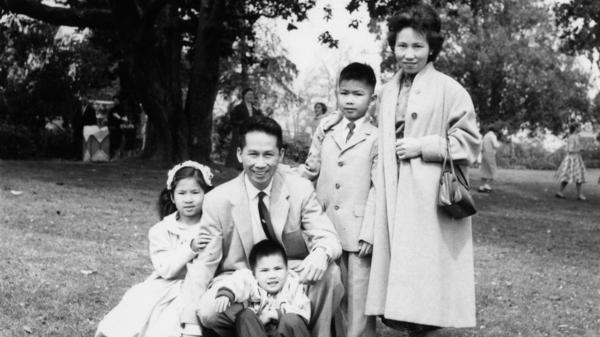 Amy Tan (pictured with her family in 1959) found startling information about her parents while sifting through a treasure trove of family papers.